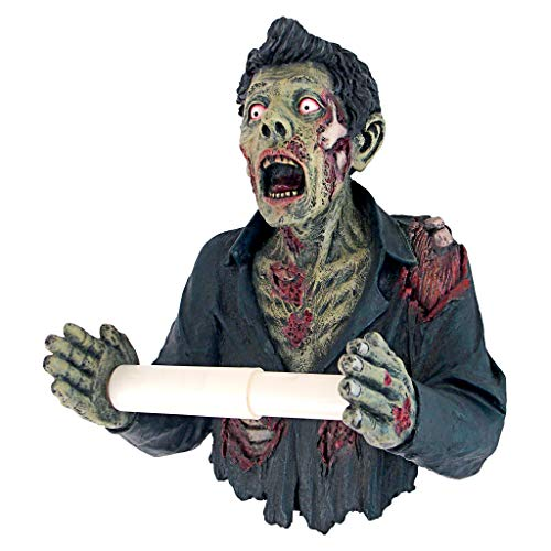 Design Toscano Zombie Bathroom Break Toilet Paper Holder, 11 Inches, Full Color -