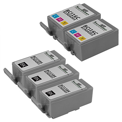Speedy Inks - Compatible 5PK Canon 3 BCI-15 Black 2 BCI-16 color Ink Cartridges for use in Canon Portable Printers PIXMA iP90 PIXMA iP90V SELPHY DS700 SELPHY ()