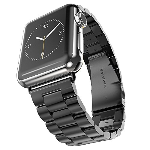 Band Pointer - Hontao Stainless Steel Band for Apple Watch 42mm, Metal Link Replacement Strap for iWatch Series 3/2/1 (black 42mm - 3 pointers)