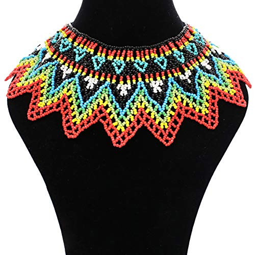Seed Beaded Rope - Multicolor African Necklace  African Jewelry  Zulu Beaded Bib Necklace  South African Statement Necklace  Maasai Necklace  Sister Gifts  (Color N)