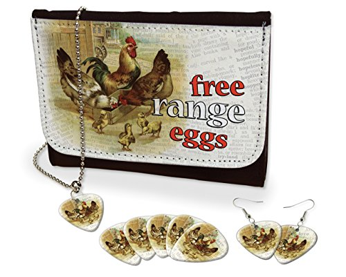 Free Range Eggs Chickens Hens Earrings, Necklace & Leather Purse Set (M) (Chicken Egg Bag)