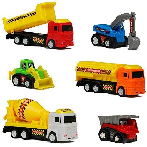 Mini Cars Toys Pull Back Construction Team Vehicles Cute Fantastic Car Toys Model for Kids Boys Girls 6pcs (Color Vary)