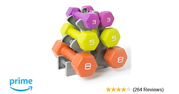 Amazon.com : Tone Fitness Neoprene Dumbbell Set with Rack, 32-Pounds of Weights : Sports & Outdoors
