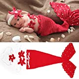 GREATLOVE Rose Red and Red Newborn Baby Girls Mermaid Headband Bra Tail Crochet Photography Prop (Red)