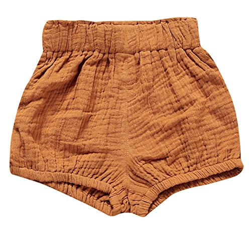 LOOLY Unisex Baby Girls Boys Cotton Linen Blend Bloomer Shorts Dark Yellow 66