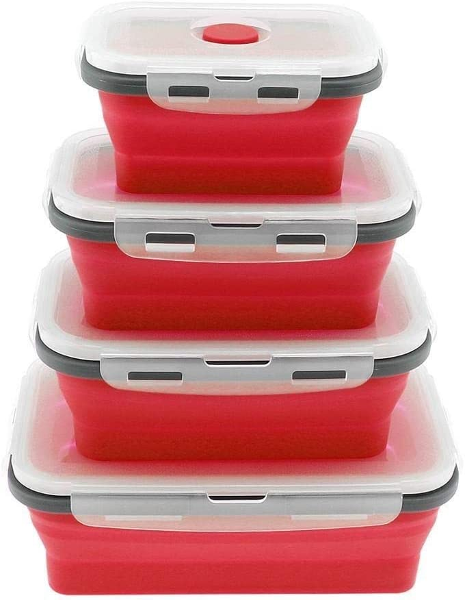 Bento 4pcs Silicone Rectangle Lunch Box Collapsible Bento Box Folding Food Container Bowl 350/500/800/1200ml for Dinnerware YYFCC (Color : Red)