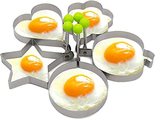 5PCS Fried Egg Mould, Stainless Steel Eggs Poach Rings with Silicone Handles, Different Shapes Pancake Mould Cookies Maker Baking Shaper