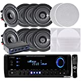 Pyle KTHSP390S 4 Pairs of 150W 5.25 In-Wall / In-Ceiling Stereo White Speakers w/ 300W Digital Home Stereo Receiver w/ USB/SD/AUX Input, Remote w/ 4 Channel High Power Stereo Speaker Selector