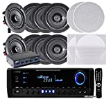 Pyle KTHSP390S 4 Pairs of 150W 5.25'' In-Wall / In-Ceiling Stereo White Speakers w/ 300W Digital Home Stereo Receiver w/ USB/SD/AUX Input, Remote w/ 4 Channel High Power Stereo Speaker Selector