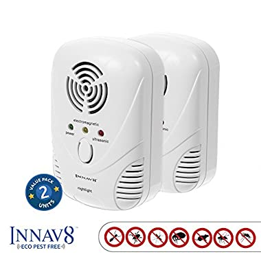 #1 RATED ECO PEST Ultrasonic Pest Repellent By INNAV8 2PACK, Best Indoor Plug In Pest Control SOLUTION, Natural Repellent, Mice, Ants, Roaches, Mosquitoes, Silver Fish, [2 Band Tech.] Night Light