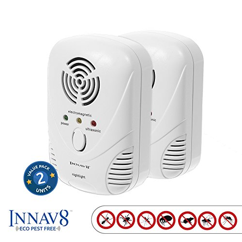 Mole Gel Bait - 5 in 1 FULLY FEATURED Ultrasonic Pest Repellent By INNAV8 2PACK, Best Indoor Plug In Pest Control SOLUTION, Natural Repellent, Mice, Ants, Roaches, Mosquitoes, Silver Fish, 2 Band Tech. Night Light