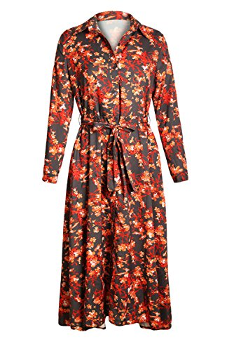 SEBOWEL Wrap Floweret Down Long Stripes Floral Belted Taupe Dress Button Printed Shirt Printed Womens r4pTr
