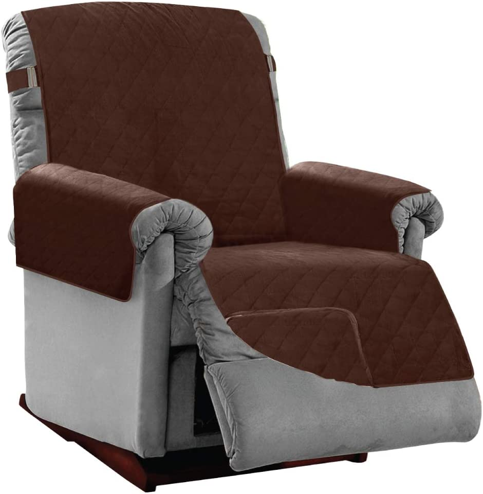Sofa Shield Original Patent Pending Reversible Small Recliner Protector, Many Colors, Seat Width to 25 Inch, Furniture Slipcover, 2 Inch Strap, Reclining Chair Slip Cover Throw for Pet Dogs, Chocolate