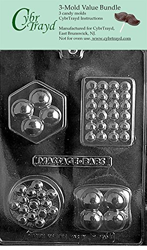 CybrTrayd M170-3BUNDLE 4 Shape Massage Bar Chocolate Candy Mold with Exclusive Copyrighted Chocolate Molding Instructions