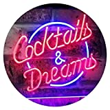 AdvpPro 2C Cocktails & Dreams Bar Beer Wine Drink Pub Club Dual Color LED Neon Sign Blue & Red 16'' x 12'' st6s43-i2079-br