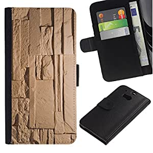 UberTech / HTC One M8 / Egypt Pyramid Ancient Beige Pattern / Cuero PU Delgado caso Billetera cubierta Shell Armor Funda Case Cover Wallet Credit Card