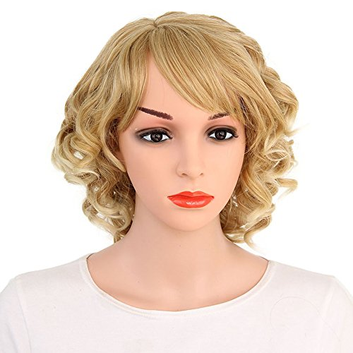 Kanuosi Short Curly Wigs Synthetic Blonde Wigs for Women Side Bangs Heat Resistant Wig Bob Hairstyles Layered Wig