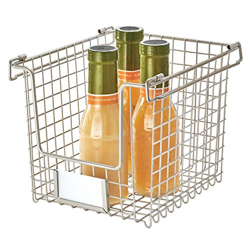 IDesign Wire Storage, Small Metal Basket for Bathroom, Office, Stackable Kitchen Organiser with Handles, Silver, 20.3 cm x 25.4 cm x 19.7 cm