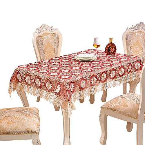 Adasmile Handmade Lace Fabric Crocheted Patterns Tablecloth/Table Cover with Red Flowers for Rectangle Tables for Party,Wedding,Light - Shape Oblong Picture