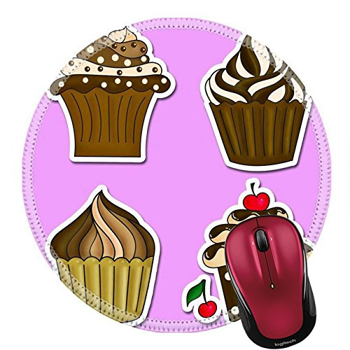 Liili Round Mouse Pad Natural Rubber Mousepad IMAGE ID 33420620 illustration of six cupcakes stickers collection on pink ()