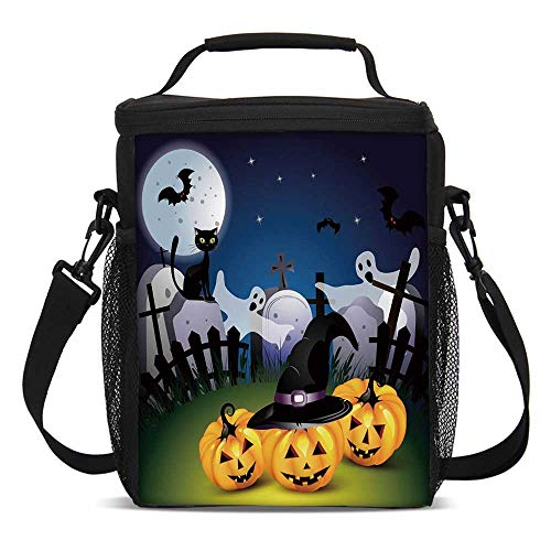 (Halloween Fashionable Lunch Bag,Funny Cartoon Design with Pumpkins Witches Hat Ghosts Graveyard Full Moon Cat Decorative for Travel Picnic,One)