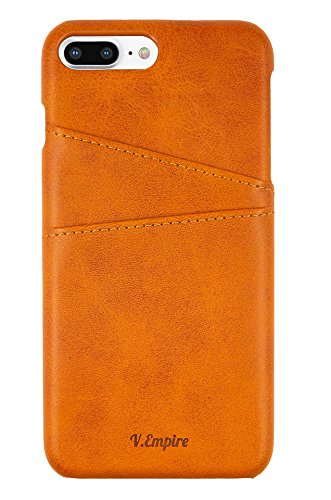 iPhone 8 Plus Wallet Phone Case | Ultra-Slim Leather Credit Card Holder | Store Bank, Debit, Personal ID | Leather iPhone Case (Khaki) by V.Empire