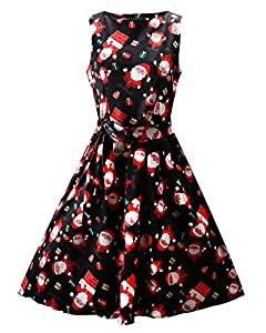 OUGES Women's Christmas Gifts Fit and Flare Cocktail Dress