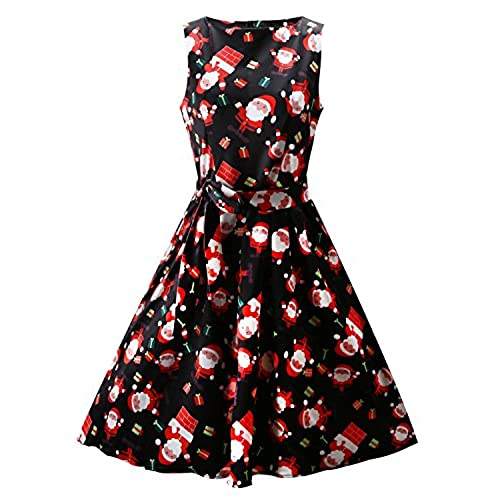 ouges womens christmas gifts fit and flare cocktail dressblack santas - Christmas Dresses
