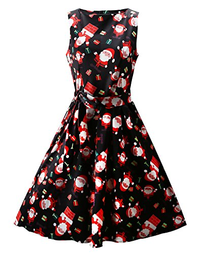 OUGES Womens Fit and Flare Party Dress(Black Santa,XXS) -