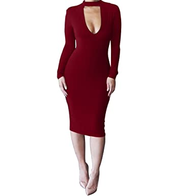 ALAIX Womens Keyhole Open-Chest Bodycon Long Sleeve Slim Party Evening Dress - White -