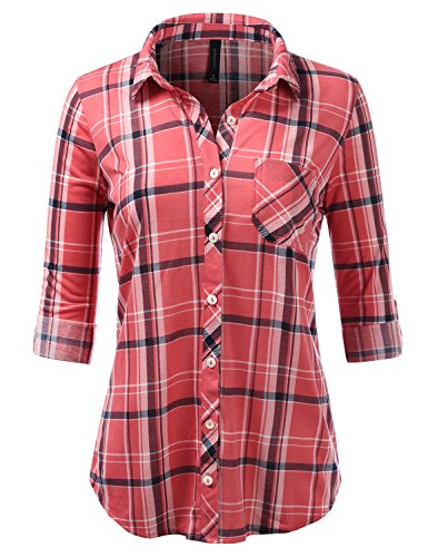 (JJ Perfection Womens Long Sleeve Checkered Pattern Collared Button Down Plaid Flannel Shirt DPINKWHITENAVY S)