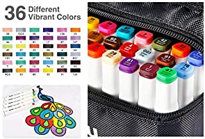 Amazon.com: Marcadores permanentes de tela de 36 colores de ...