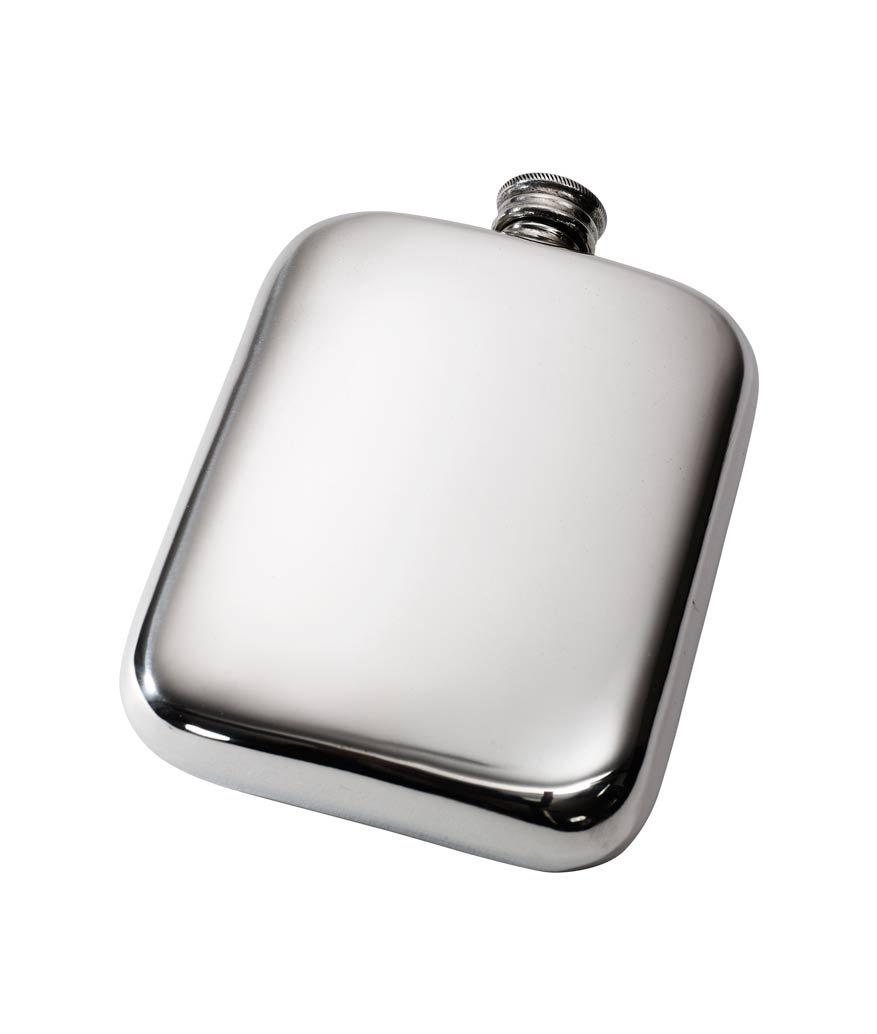 Wentworth Pewter- Plain 6oz Pewter Cushion Pocket Flask, Spirit Flask
