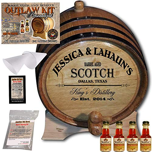 - Personalized Whiskey Making Kit (061) - Create Your Own Honey Scotch Whiskey - The Outlaw Kit from Skeeter's Reserve Outlaw Gear - MADE BY American Oak Barrel - (Oak, Black Hoops, 3 Liter)