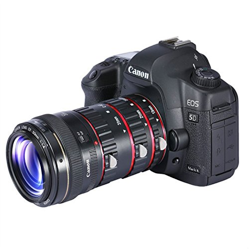- First2savvv XJPJ-CCW-08 red Auto Focus Macro Extension Tube Set for Canon EOS DSLR SLR Lens, Extreme Close-Ups for Canon EOS 5D Mark II
