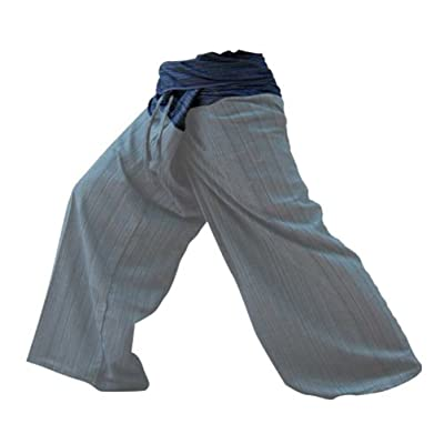 2 Tone Thai Fisherman Pants Yoga Trousers Free Size Cotton Black and Gray