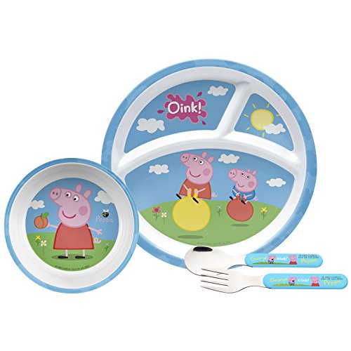 Peppa Pig Mealtime Set with Plate, Bowl, Fork & Spoon, Break Resistant and BPA-free, 4-piece set by Zak! Designs -