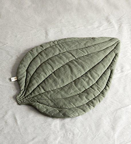 Linen hand quilted dusty green mat/pillow