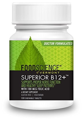 FoodScience Of Vermont Superior B-12+ Chewable Tablets, Cherry, 100 Count