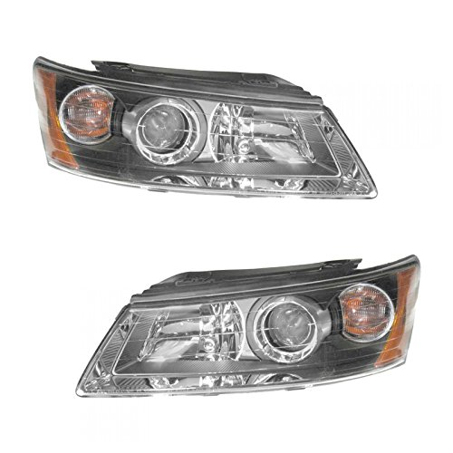 Headlights Headlamps Left & Right Pair Set for 06-08 Hyundai Sonata