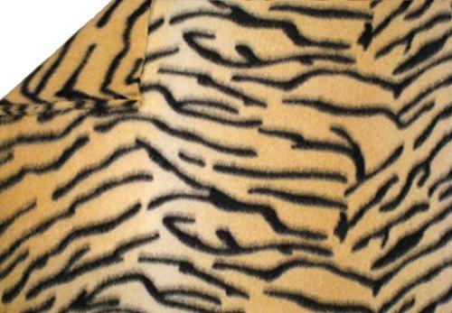LA Linen Polar Fleece Fabric, 1.5-Yard by 58-Inch, Tiger Print ()