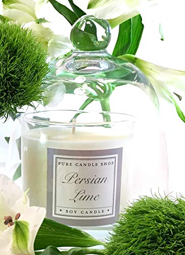 Persian Lime Candle + Glass Cloche Dome Combination ()