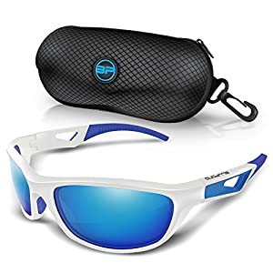 BLUPOND TR90 Polarized Sports Sunglasses for Cycling Running Driving Fishing Golf Baseball, SCOUT Flexible Frame Glasses (White/blue)