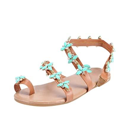 40b4a493a81a Amazon.com  Women Bohemian Sandals Leather Rhinestone Flat Flip Flops Sandals  Flower Crystal Slip on Shoes Casual Outdoor Beach Shoes for Women   Girls   ...