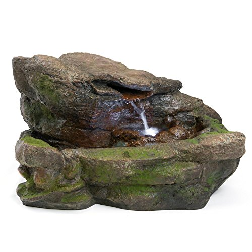 Fountain Rock - Kimball Rock Water Fountain: Outdoor Water Feature for Gardens & Patios. Original Design Includes LED Lights.