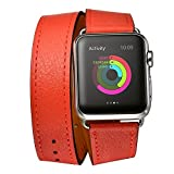 Elobeth for Apple Watch Band,iWatch band Genuine Leather Double Tour Watch Strap Wrist Band Replacement Clasp for Apple Watch & Sport & Edition(42mm Orange)