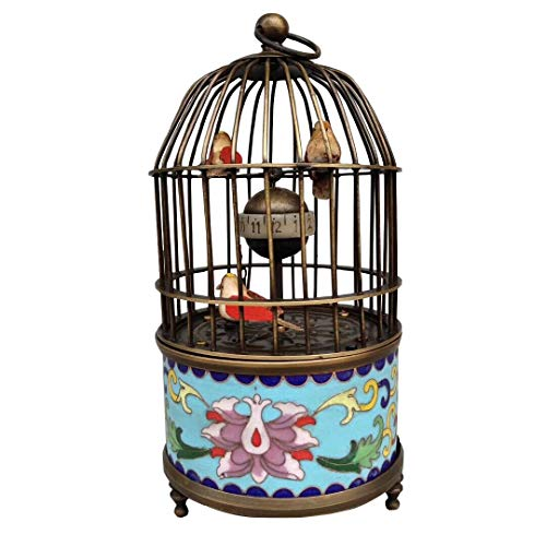 (European Cloisonne Brass Handmade Birdcage Shape Mechanical Alarm Clock (2))
