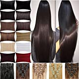 FUT Remy Grade 7a 18 Clips in 8 PCS Human Hair Pieces Extensions Straight Full Head 16-22inch 65-80g for Girl Lady Women