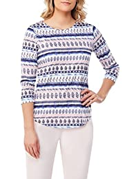 Plus Size Leaf Stripe Print Crew Neck Top DnmStpMix 2X