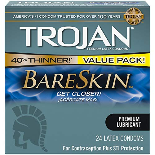 Trojan BARESKIN Condoms are specially designed to help you feel closer – and get closer! Our thinnest latex condom ever!